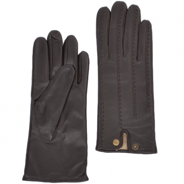 Stitch Detail Leather Gloves Brown : 733