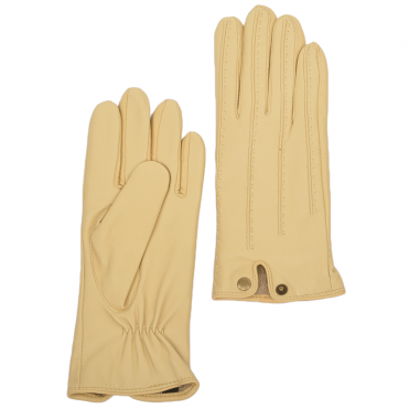 d8278728460b Stitch Detail Leather Gloves Cream   733