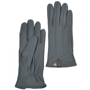 Stitch Detail Leather Gloves Grey : 733
