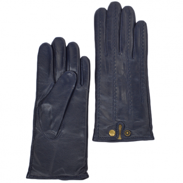 Stitch Detail Leather Gloves Navy : 733