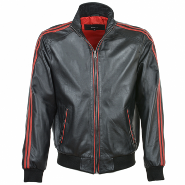 Striped Collar Leather Bomber Jacket Blk/red : Jacob