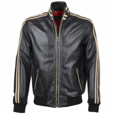 Striped Collar Leather Bomber Jacket Blk/white : Jacob
