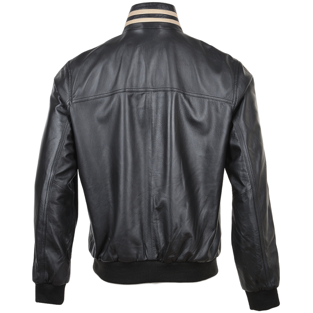 Mens Striped Collar Leather Bomber Jacket Blk White