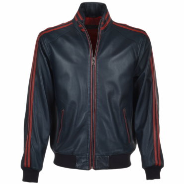 Striped Collar Leather Bomber Jacket Navy/red : Jacob