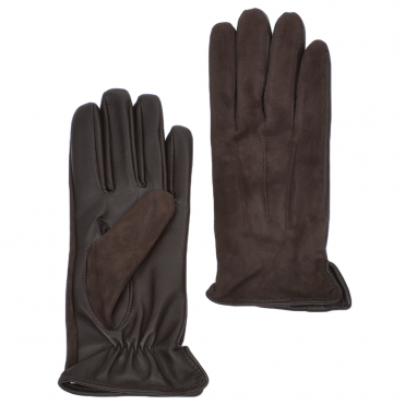 Suede and Leather Gloves Brown : 130