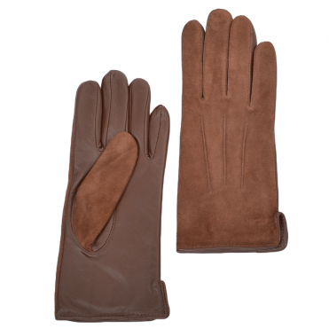 Suede and Leather Gloves Tan : 130