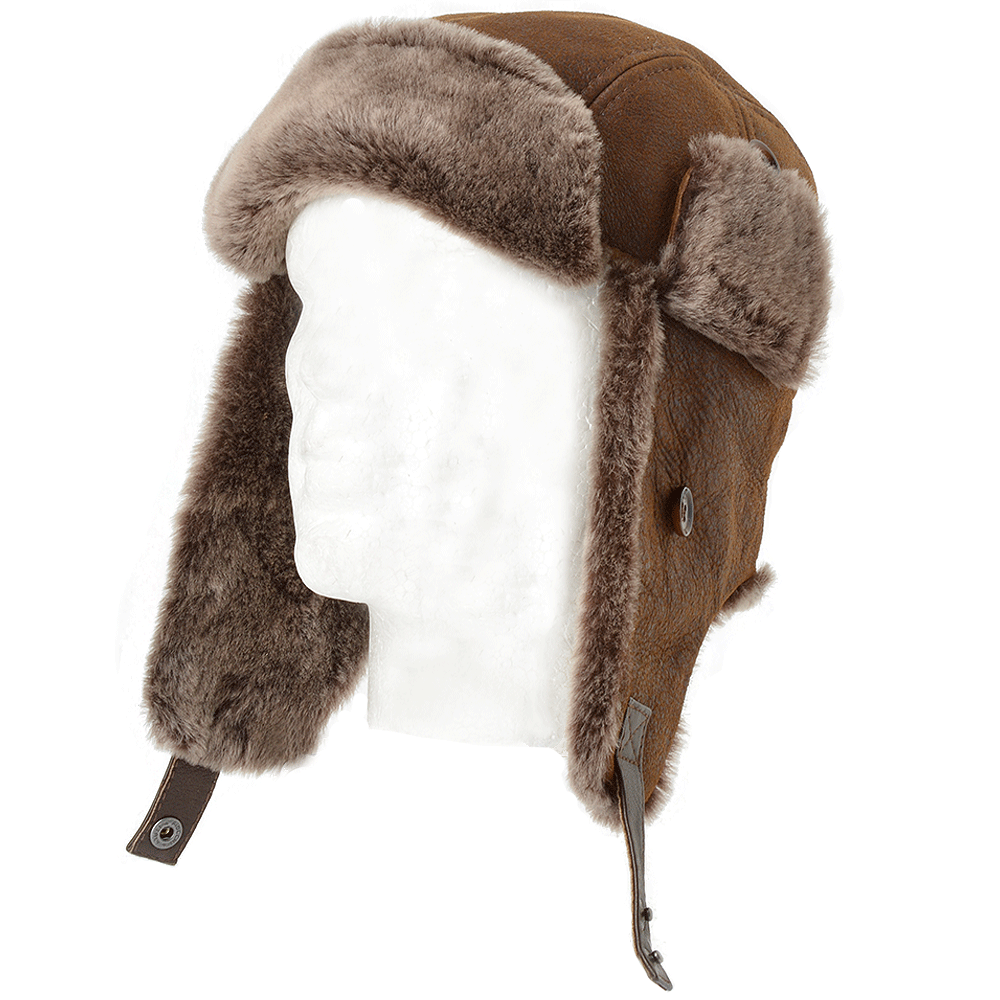 Tobacco Sheepskin Aviator Flying Hat Morgan