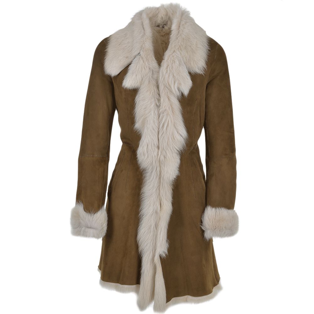 Toscana 3 4 Shearling Coat Brown Octavia Women S