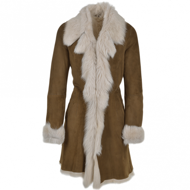Ashwood Toscana 3/4 Shearling Coat Brown : Octavia