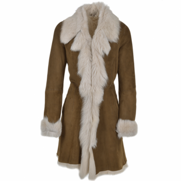 Toscana 3/4 Shearling Coat Brown : Octavia