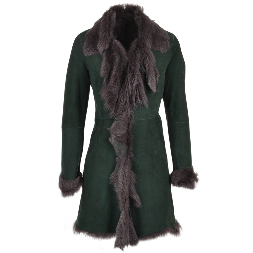 Toscana 3/4 Shearling Coat Green : Octavia | Women's Sheepskin Jackets
