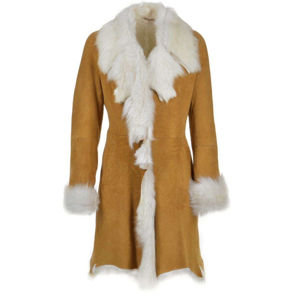 Toscana 3 4 Shearling Coat Tan Octavia Women S