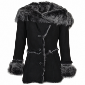 Toscana Long Haired Shearling Jacket With Large Hood Black : Muna