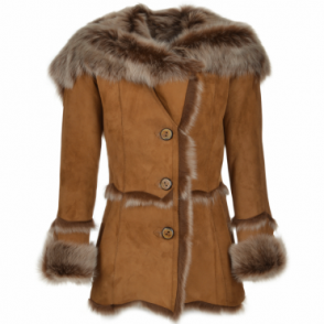 Toscana Longhaired Shearling Jacket With Large Hood Tan : Muna