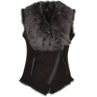 Toscana Suede Leather Biker Gilet Brown : Kimi