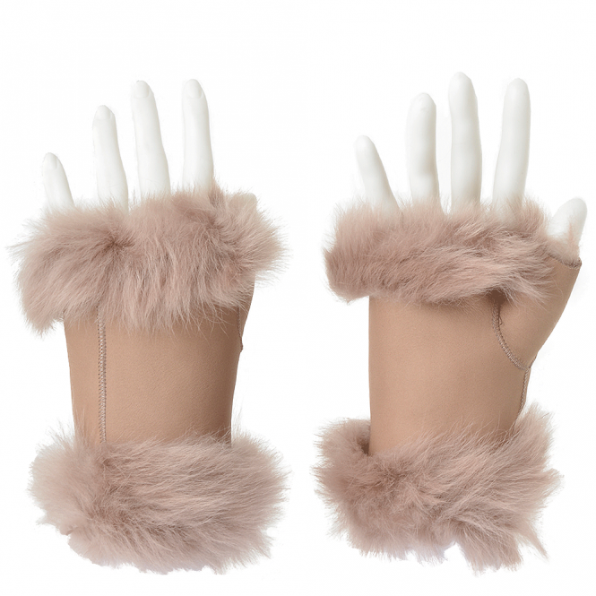 Ashwood Toscana Suede Leather Fingerless Glove Beige : Kiona