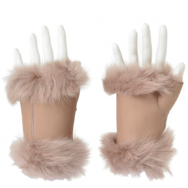Toscana Suede Leather Fingerless Glove Beige : Kiona