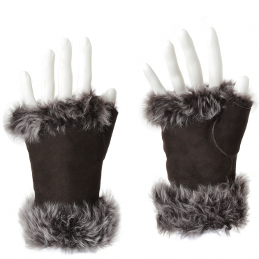 Toscana Suede Leather Fingerless Glove Brown/brissa: Kiona
