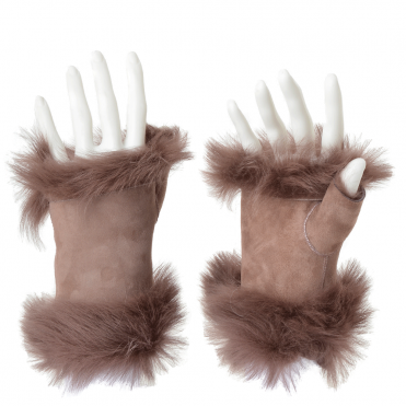 Toscana Suede Leather Fingerless Glove Lilac: Kiona