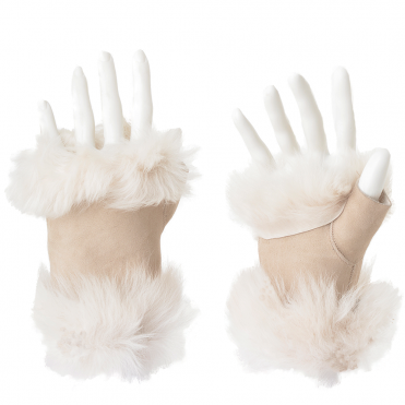 Toscana Suede Leather Fingerless Glove Stone : Kiona