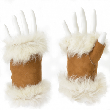 Toscana Suede Leather Fingerless Glove Whiskey/cream : Kiona