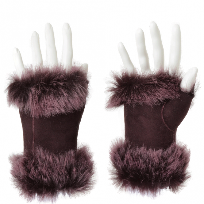 Ashwood Toscana Suede Leather Fingerless Gloves Aubergine : Kiona