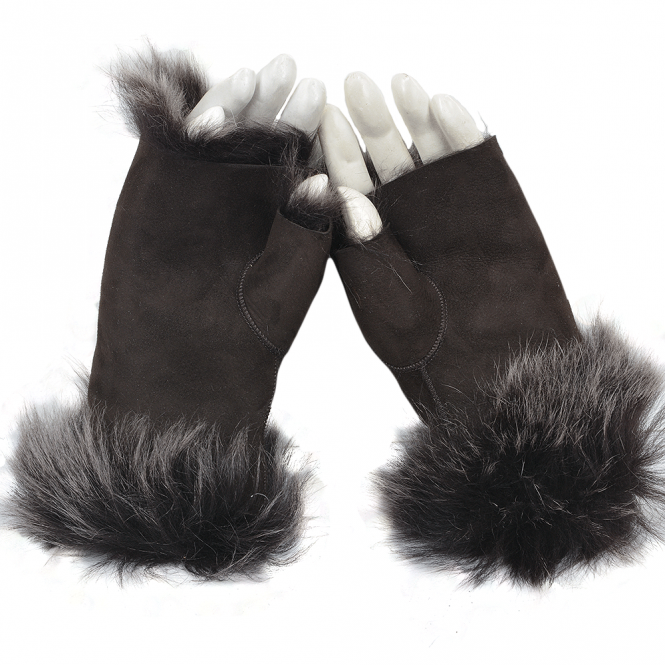 Ashwood Toscana Suede Leather Fingerless Gloves Brown/brissa : Kiona