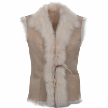 Toscana Suede Leather Gilet Beige : Kachina