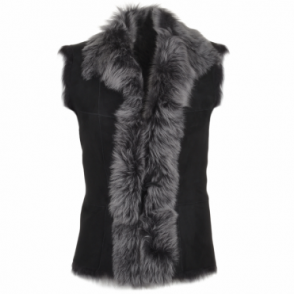 Toscana Suede Leather Gilet Black : Kachina