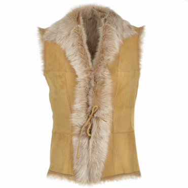 Toscana Suede Leather Gilet Camel : Kachina