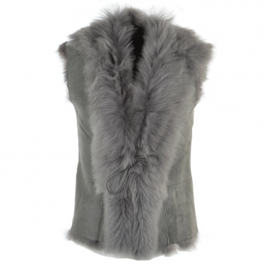 Toscana Suede Leather Gilet Lt.gray : Kachina