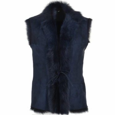 Toscana Suede Leather Gilet Navy : Kachina
