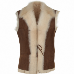 Toscana Suede Leather Gilet Tan/nut: Kachina