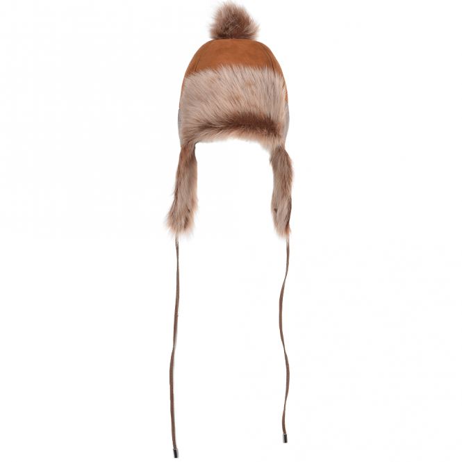 Ashwood Toscana Suede Leather Pom Pom Trapper Hat whisky/brissa : Navia