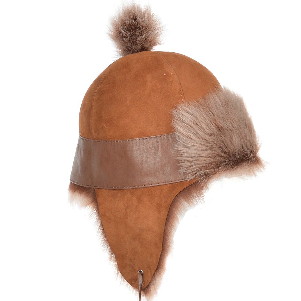 Toscana Suede Leather Pom Pom Trapper Hat Whisky Brissa