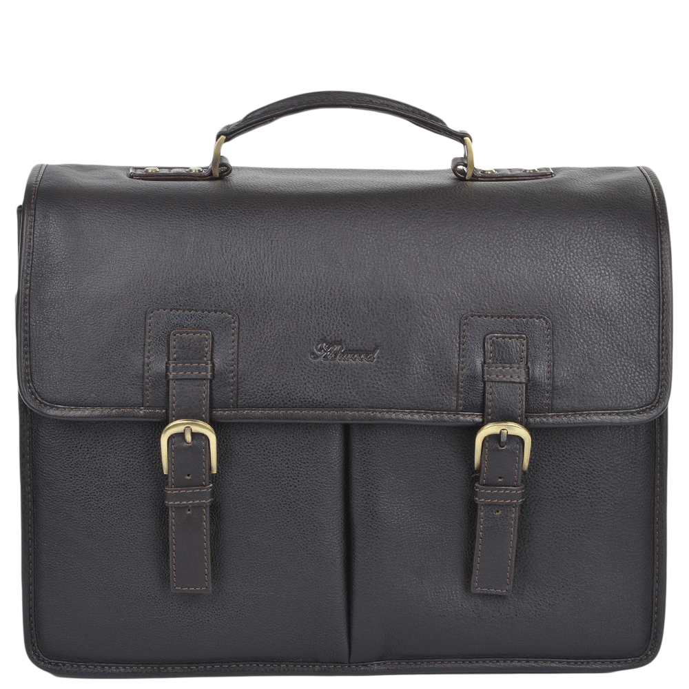 Mens Triple Gusset Heavy Duty Leather Briefcase Brown Tum
