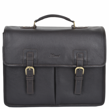 Triple Gusset Heavy Duty Leather Briefcase Brown/tum : Gareth
