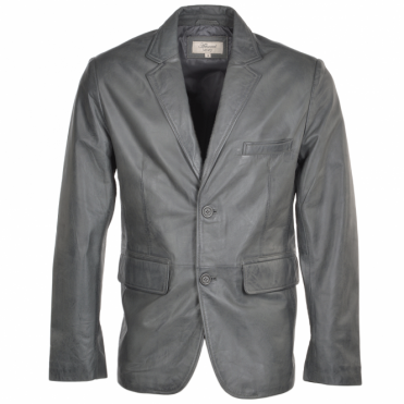 Two Button Leather Blazer Grey: Capone