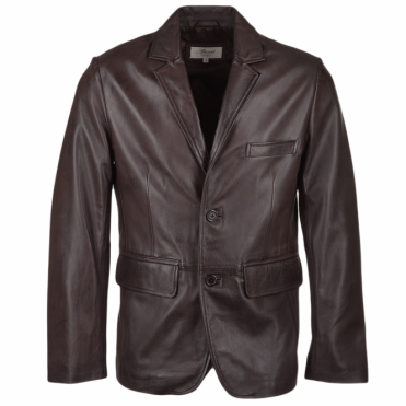 Two Button Leather Blazer Mid Brown : Capone