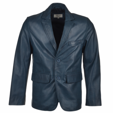 Two Button Leather Blazer Navy : Capone
