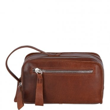 Two Section Oily Hunter Leather Wash Bag Tan : 1667