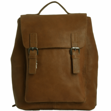 Unisex Full Grain Leather Backpack Tan : Ryan