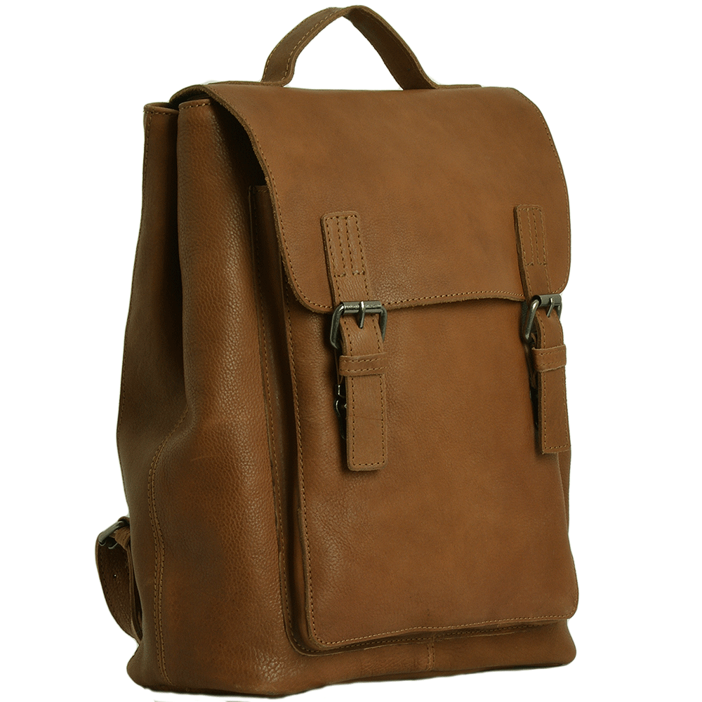 Unisex Full Grain Leather Backpack Tan Ryan