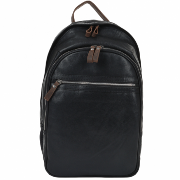 Unisex Leather Backpack Black/mud : 4555