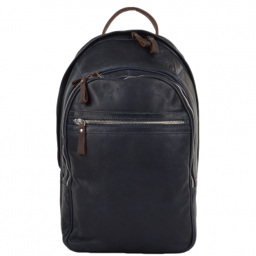 Unisex Leather Backpack Navy/mud : 4555