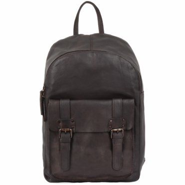Unisex Leather Vintage Wash Backpack Brown : 7999