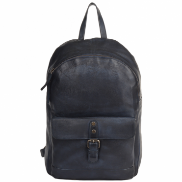 Unisex Leather Vintage Wash Backpack Navy : 1331
