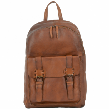Unisex Leather Vintage Wash Backpack Rust : 7999