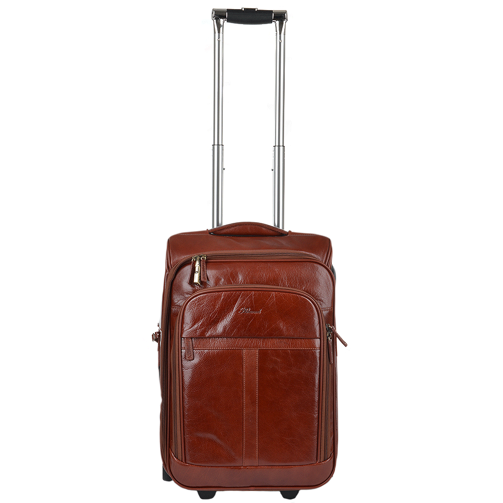 Veg Tanned Leather Luggage Cabin Trolley Cognacvt : 89150