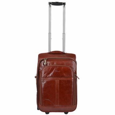 Veg Tanned Leather Luggage Cabin Trolley Cognac/vt : 89150
